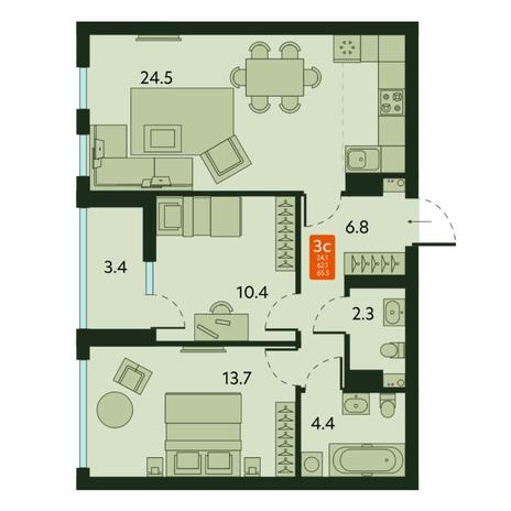 Вариант №6670, 3-комнатная квартира в жилом комплексе