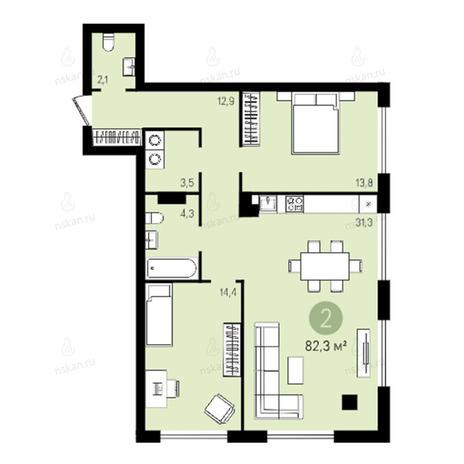 Вариант №2633, 3-комнатная квартира в жилом комплексе