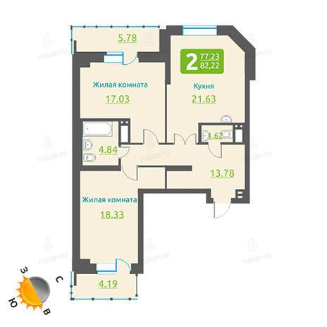 Вариант №464, 3-комнатная квартира в жилом комплексе Марсель