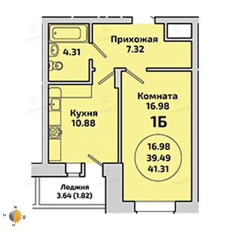 Вариант №1963, 1-комнатная квартира в жилом комплексе Приозерный