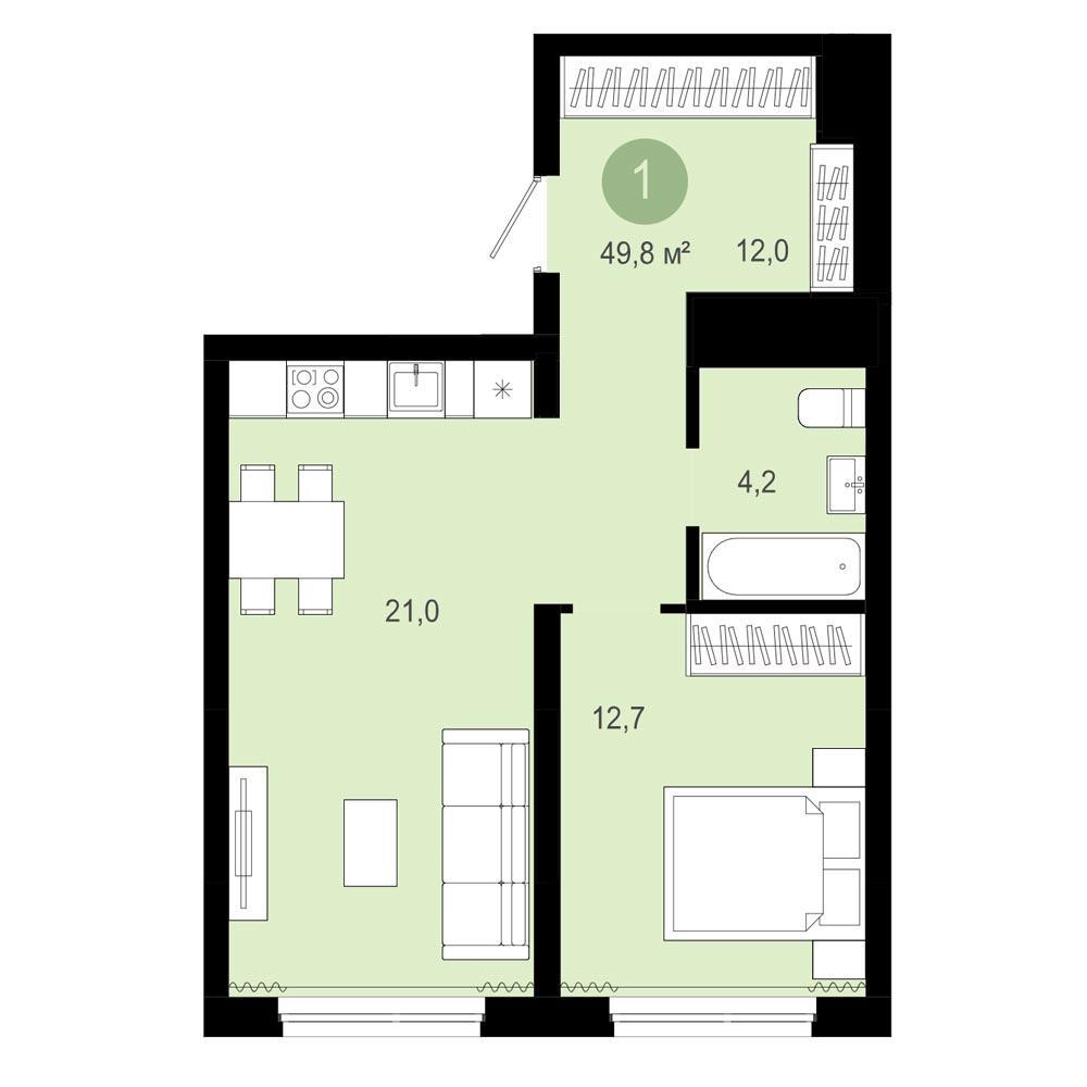 Планировка 2-комн. студия площадью 49.8 м<sup>2</sup> в ЖК Европейский Берег