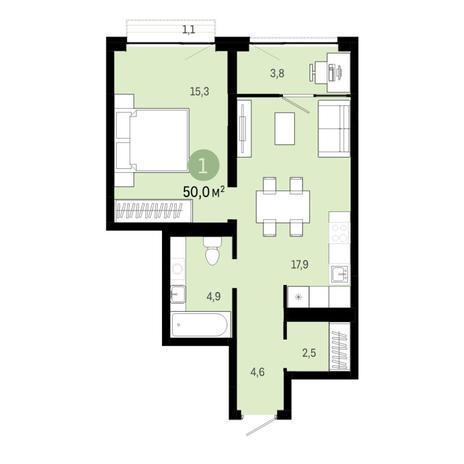 Вариант №6444, 2-комнатная квартира в жилом комплексе