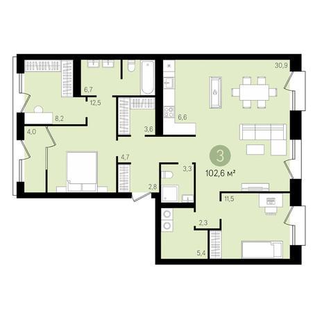 Вариант №3481, 4-комнатная квартира в жилом комплексе На Декабристов