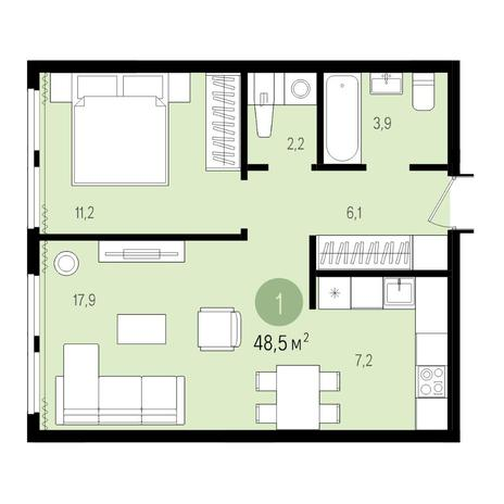 Вариант №4986, 2-комнатная квартира в жилом комплексе Аквамарин