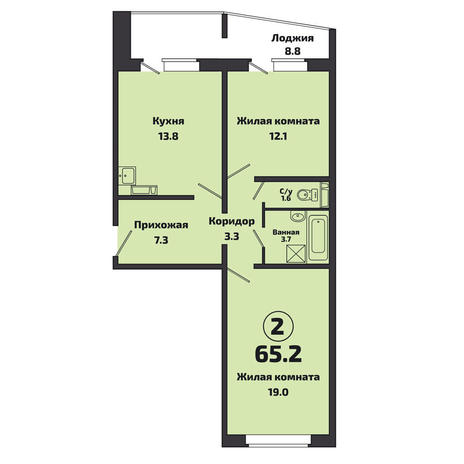 Вариант №3805, 3-комнатная квартира в жилом комплексе Приозерный