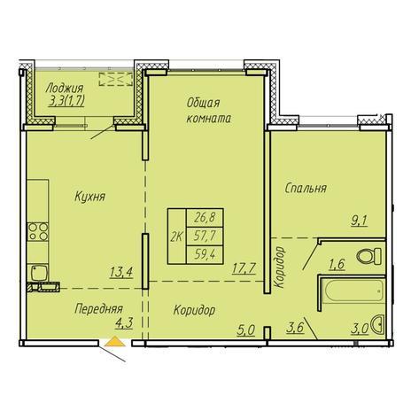 Вариант №6068, 2-комнатная квартира в жилом комплексе