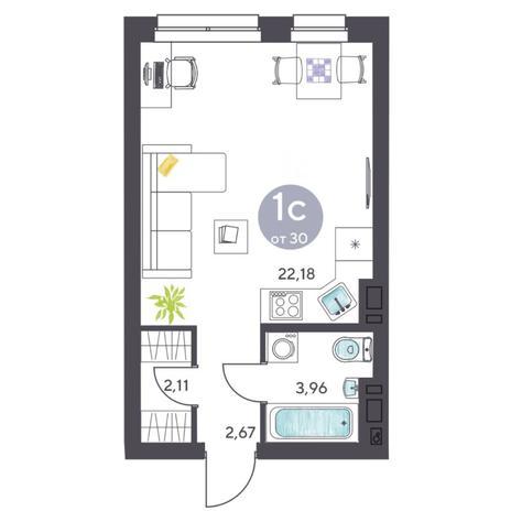 Вариант №5414, 1-комнатная квартира в жилом комплексе