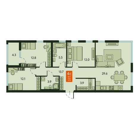 Вариант №6672, 3-комнатная квартира в жилом комплексе
