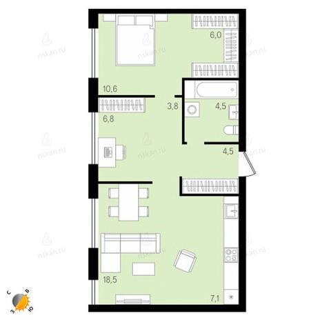 Вариант №2157, 3-комнатная квартира в жилом комплексе