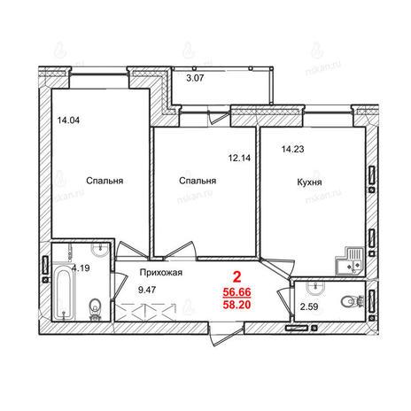 Вариант №1016, 2-комнатная квартира в жилом комплексе Маковского