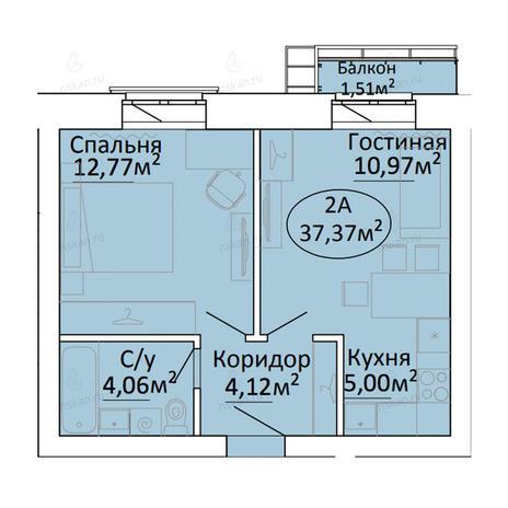 Вариант №2187, 2-комнатная квартира в жилом комплексе Малахит
