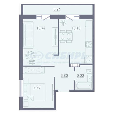 Вариант №3754, 2-комнатная квартира в жилом комплексе