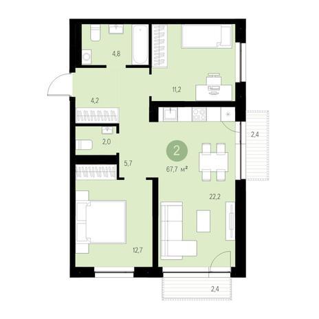 Вариант №4678, 3-комнатная квартира в жилом комплексе