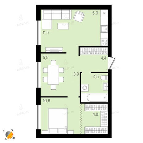 Вариант №2156, 3-комнатная квартира в жилом комплексе