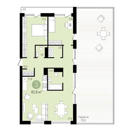 Вариант №3377, 3-комнатная квартира в жилом комплексе Европейский Берег