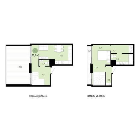 Вариант №6392, 2-комнатная квартира в жилом комплексе
