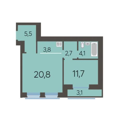 Вариант №5772, 2-комнатная квартира в жилом комплексе