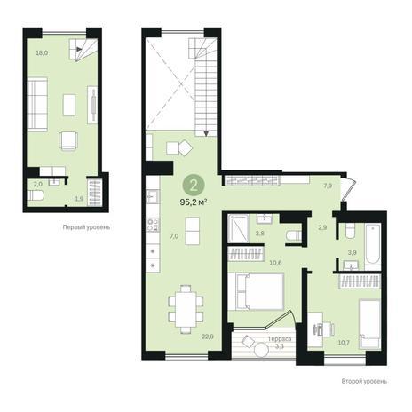 Вариант №6346, 4-комнатная квартира в жилом комплексе