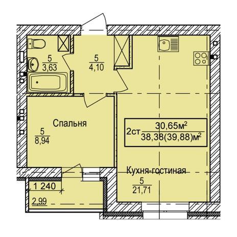 Вариант №6145, 2-комнатная квартира в жилом комплексе