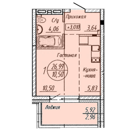 Вариант №3207, 1-комнатная квартира в жилом комплексе