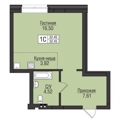 Вариант №5092, 1-комнатная квартира в жилом комплексе