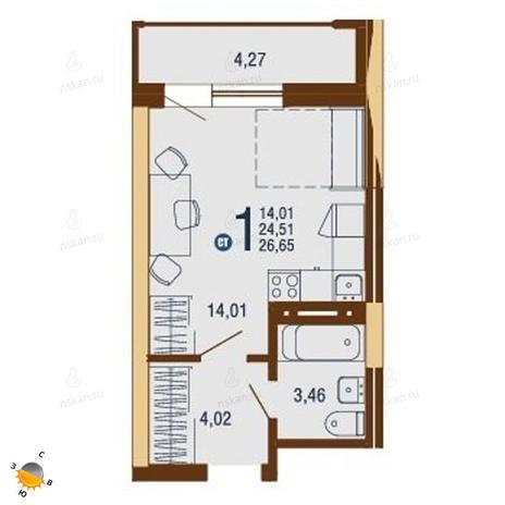 Вариант №1824, 1-комнатная квартира в жилом комплексе На Доватора