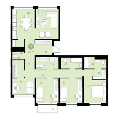 Вариант №4679, 5-комнатная квартира в жилом комплексе Европейский Берег