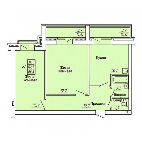 Вариант №4361, 2-комнатная квартира в жилом комплексе