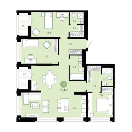 Вариант №6031, 4-комнатная квартира в жилом комплексе