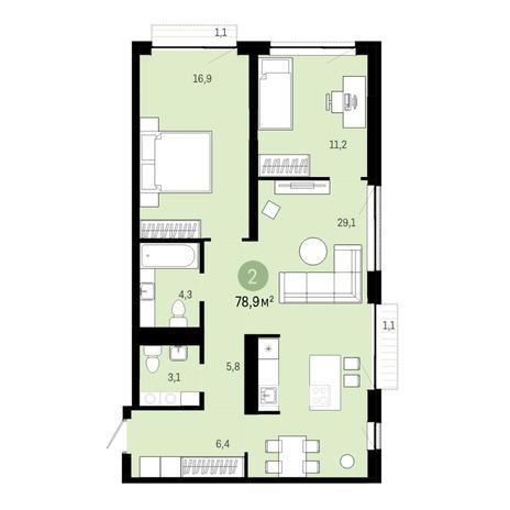 Вариант №6402, 3-комнатная квартира в жилом комплексе