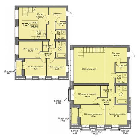 Вариант №3556, 4-комнатная квартира в жилом комплексе