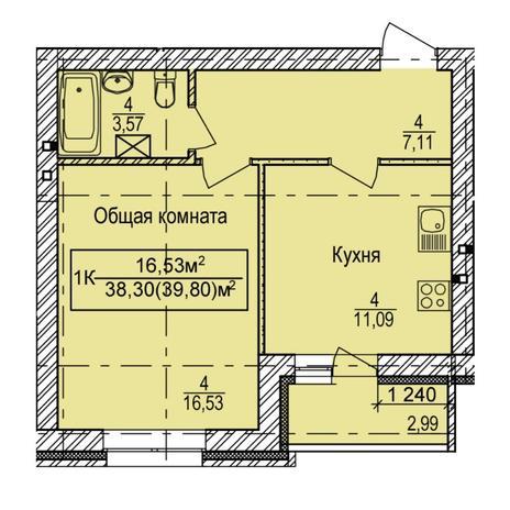 Вариант №6157, 1-комнатная квартира в жилом комплексе