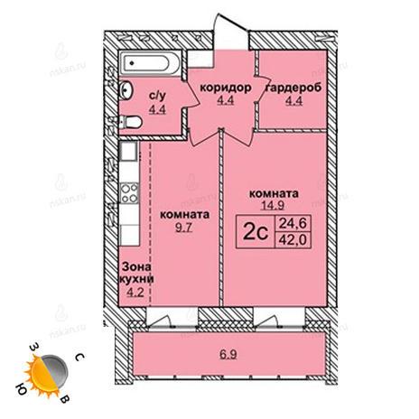 Вариант №1586, 2-комнатная квартира в жилом комплексе Северная корона