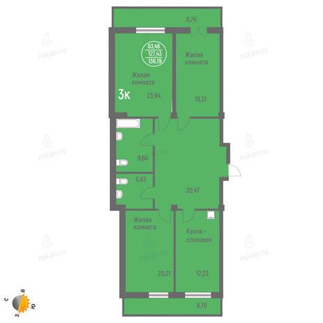 Вариант №1419, 4-комнатная квартира в жилом комплексе