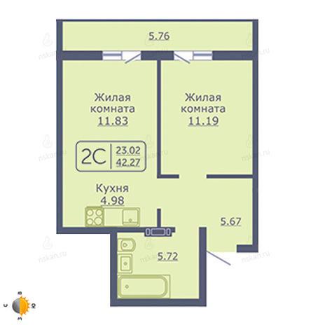 Вариант №2028, 2-комнатная квартира в жилом комплексе
