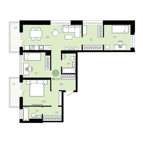 Вариант №4837, 4-комнатная квартира в жилом комплексе Европейский Берег