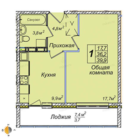 Вариант №2388, 1-комнатная квартира в жилом комплексе