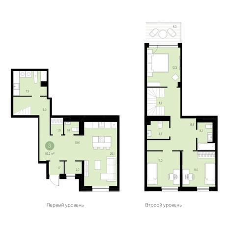 Вариант №4692, 4-комнатная квартира в жилом комплексе Жуковка