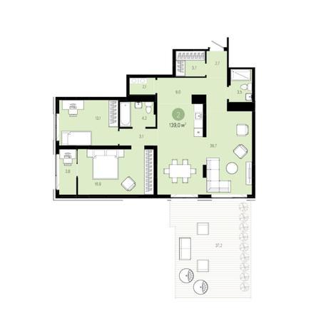 Вариант №6275, 3-комнатная квартира в жилом комплексе