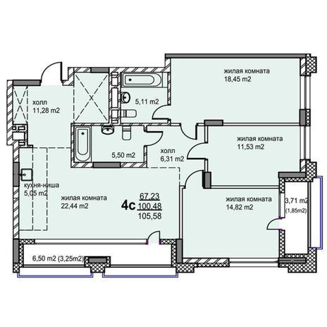 Вариант №5769, 4-комнатная квартира в жилом комплексе