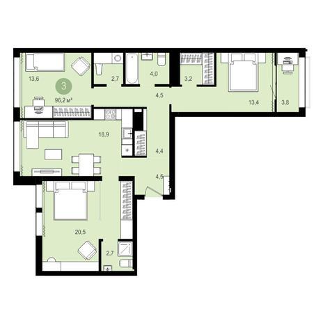 Вариант №4279, 4-комнатная квартира в жилом комплексе Пшеница