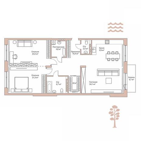 Вариант №2891, 3-комнатная квартира в жилом комплексе