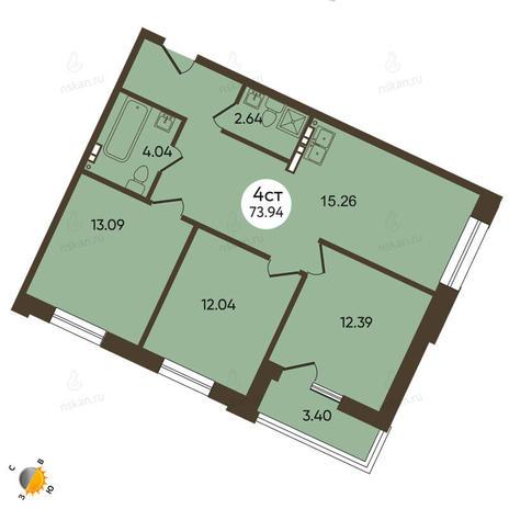 Вариант №2101, 4-комнатная квартира в жилом комплексе История