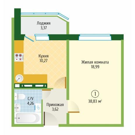 Вариант №6095, 1-комнатная квартира в жилом комплексе Ясный берег