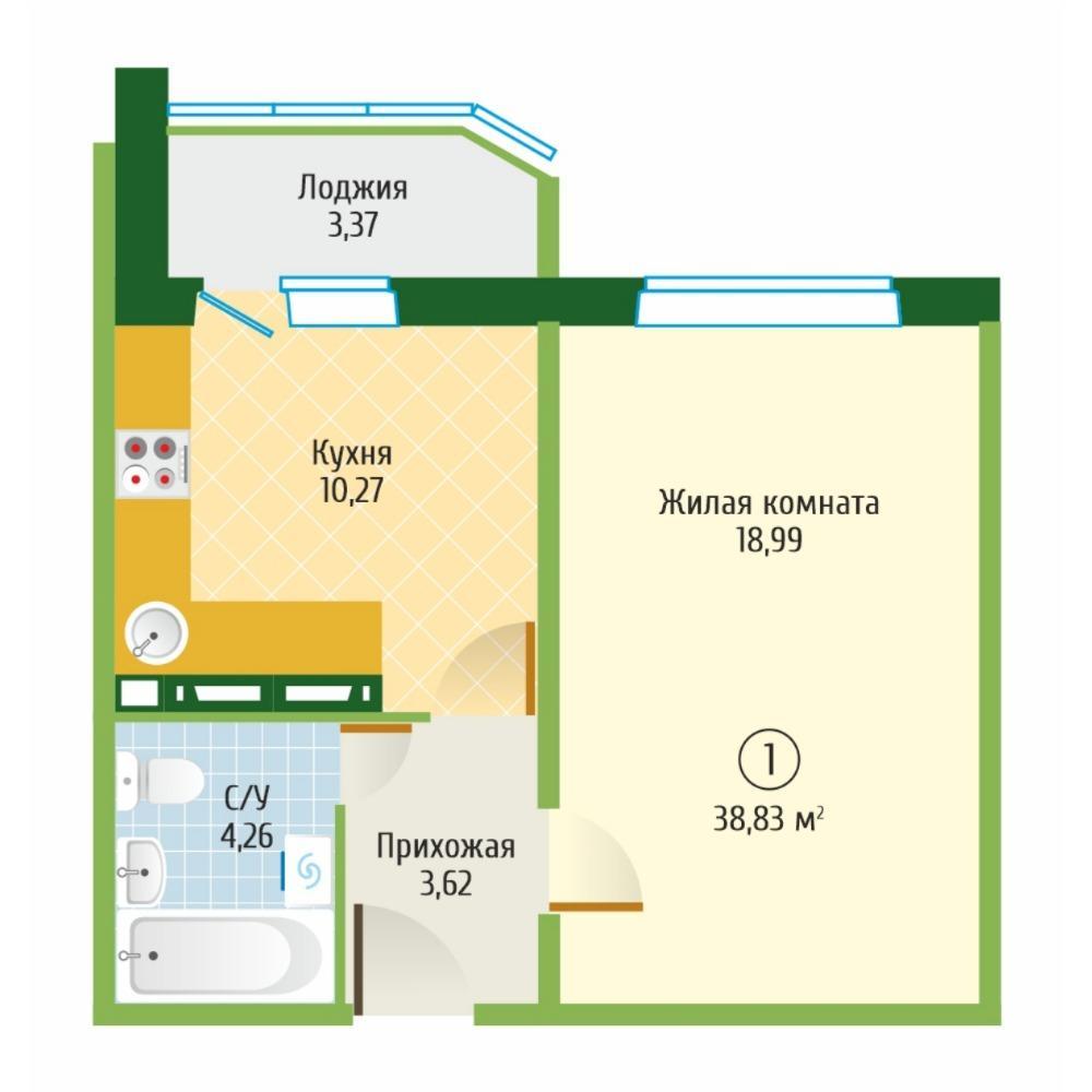 Планировка 1-комнатная площадью 38.83 м<sup>2</sup> в ЖК Тихвинский квартал