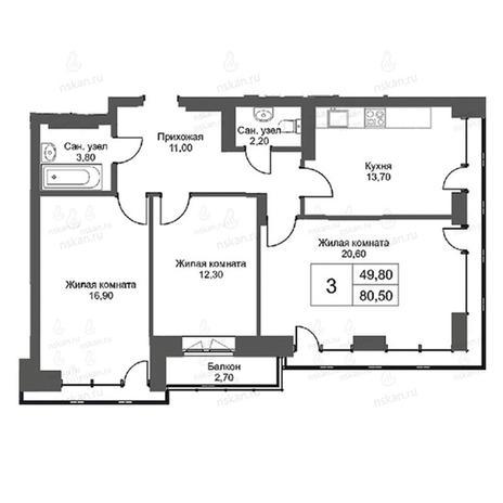 Вариант №2754, 3-комнатная квартира в жилом комплексе Эволюция