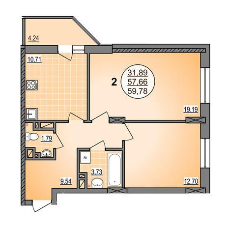 Вариант №3878, 2-комнатная квартира в жилом комплексе Гурьевский