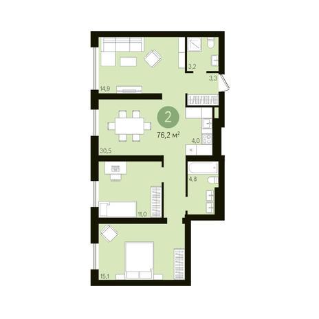 Вариант №3612, 3-комнатная квартира в жилом комплексе