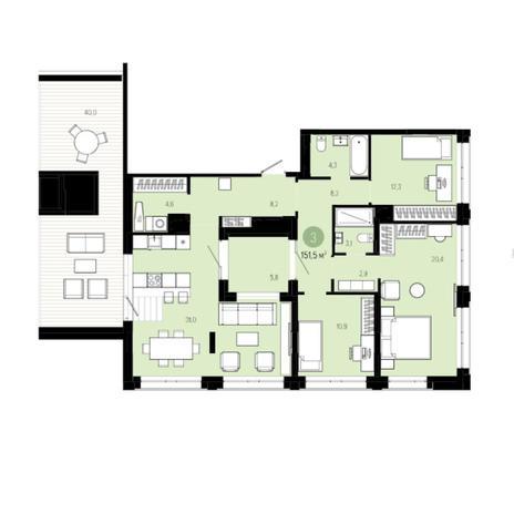 Вариант №6004, 4-комнатная квартира в жилом комплексе