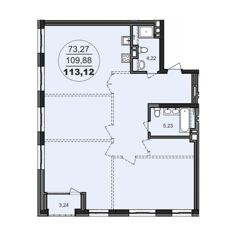 Вариант №3709, 3-комнатная квартира в жилом комплексе